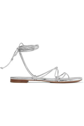 MICHAEL KORS COLLECTION Lace-up metallic leather sandals