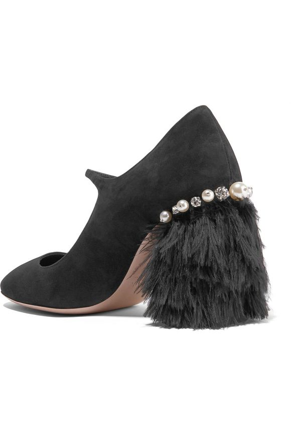 320dcb4d8b80 Feather-trimmed embellished suede Mary Jane pumps