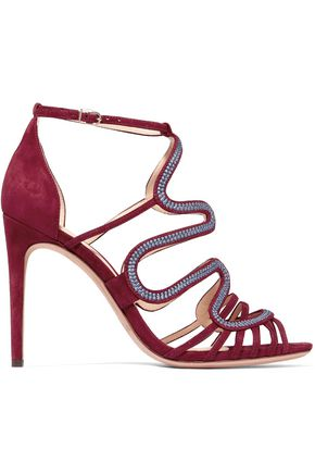 ALEXANDRE BIRMAN Flavia embroidered suede sandals