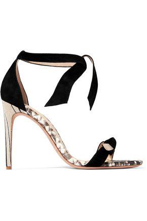 ALEXANDRE BIRMAN Bow-embellished python-trimmed suede sandals