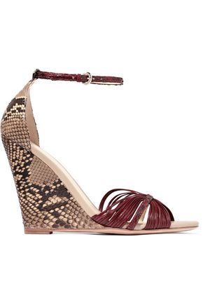 ALEXANDRE BIRMAN Python and leather wedge sandals