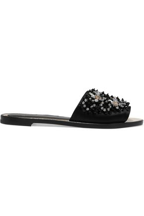 LANVIN Embellished satin slides