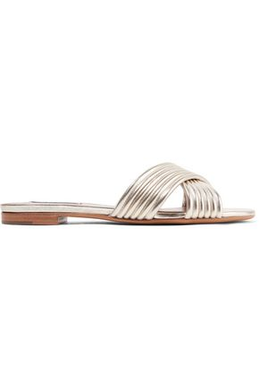TABITHA SIMMONS Lassie quilted metallic textured-leather slides