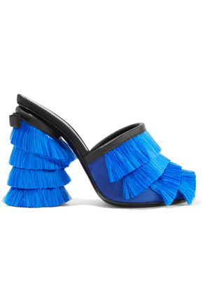MARCO DE VINCENZO Leather-trimmed fringed-satin mules