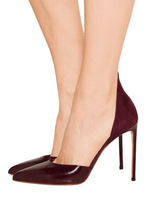 FRANCESCO RUSSO D'Orsay suede and snake pumps