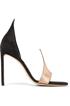 FRANCESCO RUSSO D'Orsay suede and snake sandals
