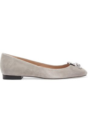 MICHAEL MICHAEL KORS Gloria snake-effect leather-trimmed suede ballet flats