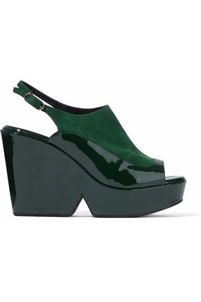 ROBERT CLERGERIE Suede and patent leather-paneled platform sandals