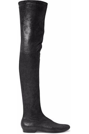 ROBERT CLERGERIE Metallic nubuck thigh boots