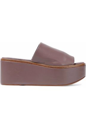 ROBERT CLERGERIE Leather platform slides