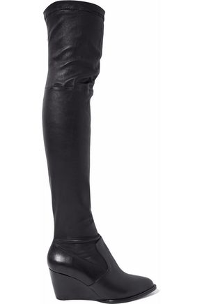 ROBERT CLERGERIE Stretch-leather wedge over-the-knee boots