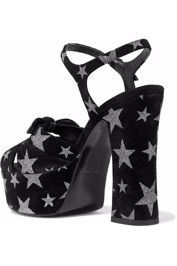 Candy glittered suede platform sandals | SAINT LAURENT | Sale up to 70% off  | THE OUTNET