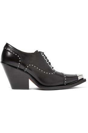 GIVENCHY Lace-up studded pumps in black leather