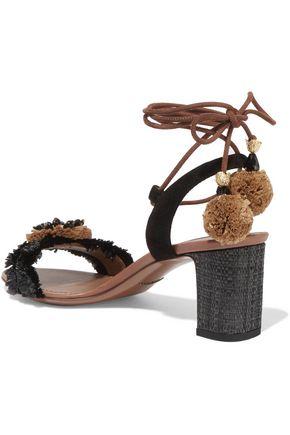 DOLCE & GABBANA Suede and raffia-trimmed embellished leather sandals