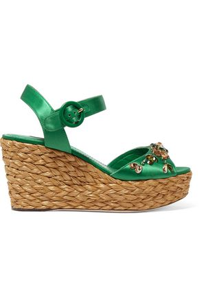 DOLCE & GABBANA Embellished satin wedge sandals