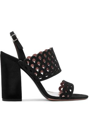 TABITHA SIMMONS Ilma laser-cut suede slingback sandals