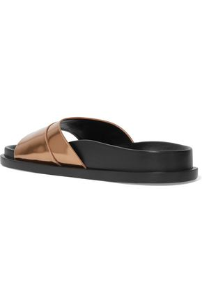 JIL SANDER Mirrored-leather slides