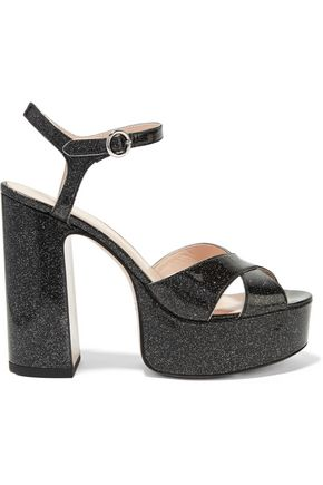 MARC JACOBS Lust glittered leather platform sandals