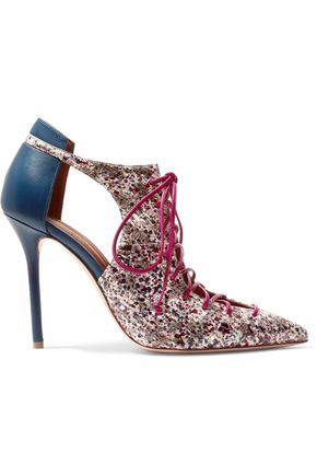 MALONE SOULIERS Montana cutout leather and elaphe pumps