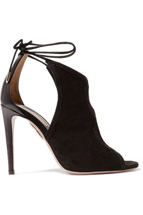 AQUAZZURA Nomad cutout suede and leather sandals