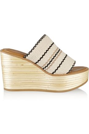 SEE BY CHLOÉ Kenna woven cotton wedge sandals