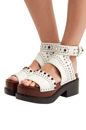 3.1 PHILLIP LIM Studded cracked-leather platform sandals