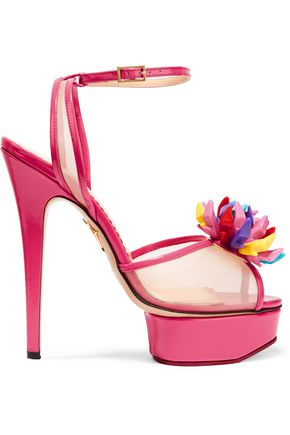 CHARLOTTE OLYMPIA Barbie® patent-leather and mesh sandals