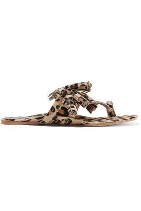 FIGUE Scaramouche tasseled leopard-print calf hair sandals