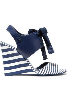 TORY BURCH Lace-up striped leather wedge sandals