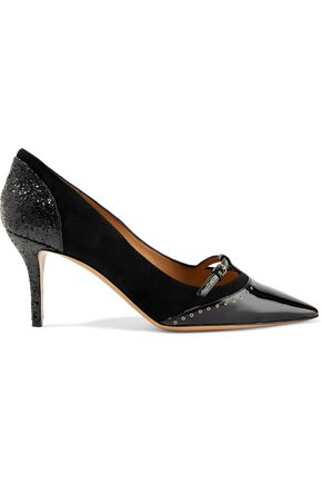 SALVATORE FERRAGAMO Eyelet-embellished paneled patent-leather and suede pumps