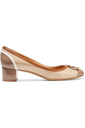 SALVATORE FERRAGAMO Gwen embellished patent-leather pumps