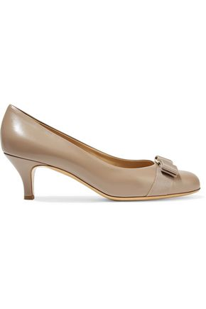 SALVATORE FERRAGAMO Carla bow-embellished leather pumps