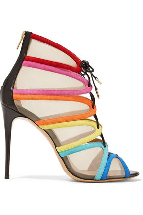 SALVATORE FERRAGAMO Amber lace-up leather-trimmed mesh and suede sandals