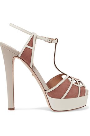 SERGIO ROSSI Suede-paneled leather sandals