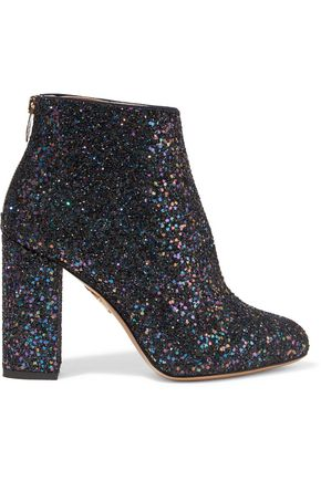 CHARLOTTE OLYMPIA Alba glittered canvas ankle boots