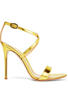 GIANVITO ROSSI Metallic glossed-leather sandals