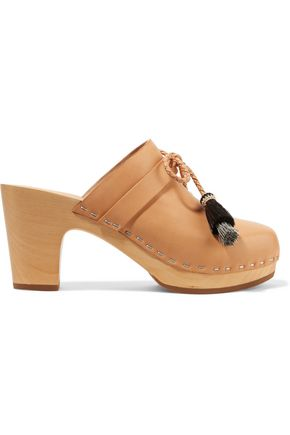 LOEFFLER RANDALL Hadley tasseled leather clogs