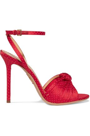 CHARLOTTE OLYMPIA Broadway polka dot-embroidered satin sandals
