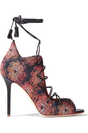 MALONE SOULIERS Savannah lace-up jacquard sandals