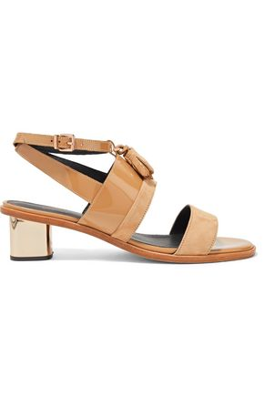 ROBERT CLERGERIE Zola tasseled paneled suede and patent-leather sandals