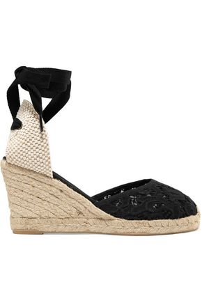 SOLUDOS Lace-up  canvas and lace wedge espadrilles