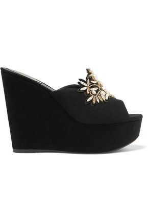 RENE' CAOVILLA Embellished suede wedge sandals