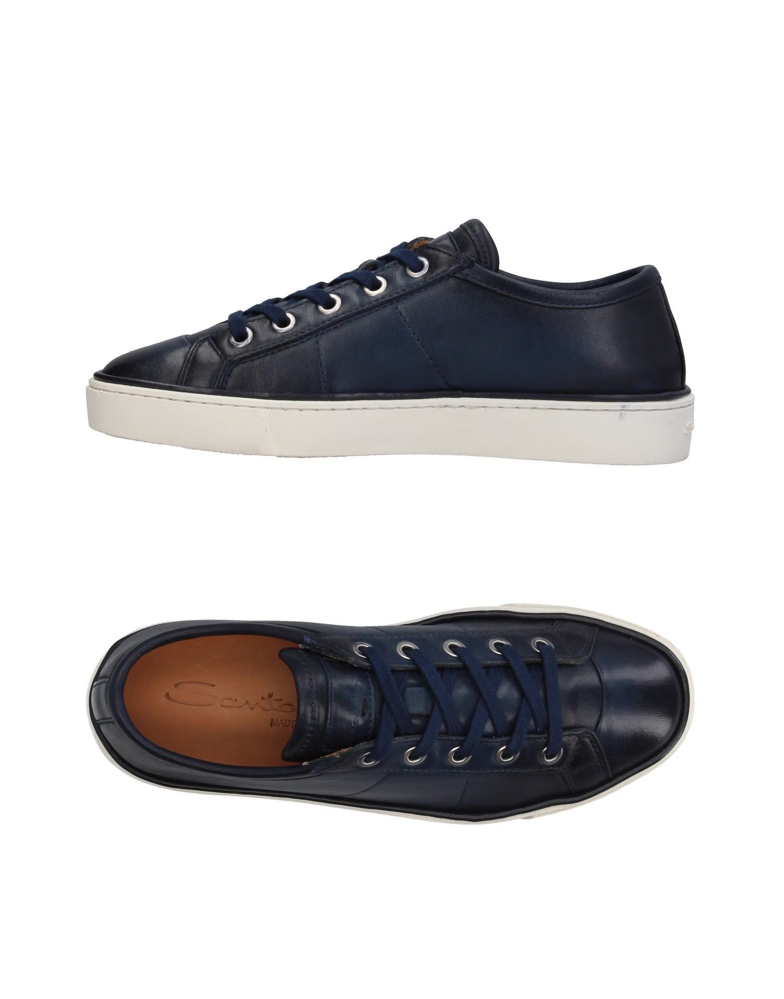 SANTONI Sneakers. logo, solid color, laces, round toeline, flat, leather lining, rubber cleated sole, contains non-textile parts of animal origin, large sized. Soft Leather
