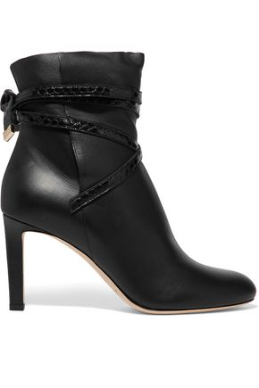 JIMMY CHOO Dalal elaphe-trimmed leather ankle boots