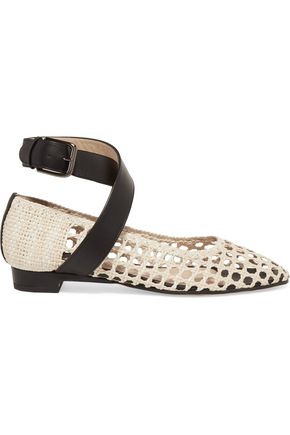 PAUL ANDREW Cutout two-tone leather point-toe flats