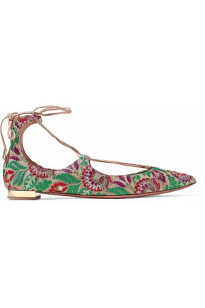 AQUAZZURA Christy embroidered canvas  point-toe flats