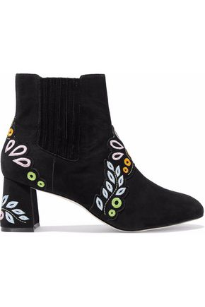 Liliana Embroidered Suede Block Heel Booties