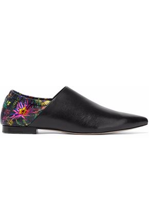 3.1 PHILLIP LIM Paneled printed leather point-toe flats