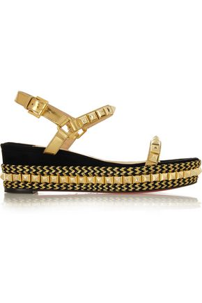 separation shoes 83cf9 54a63 Cataclou 60 embellished suede and leather wedge sandals ...