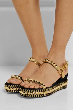 separation shoes 3a53b 32ddd Cataclou 60 embellished suede and leather wedge sandals ...
